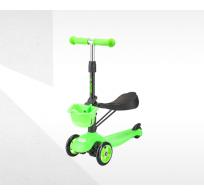 Самокат-беговел с корзинкой Tech Team Sky Scooter new, зеленый