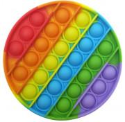 Игрушка антистресс POP IT круглая радужная 13 см вечная пупырка