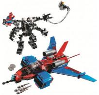Конструктор Lari Spider Hero - Реактивный самолёт Человека-Паука против Робота Венома 389 деталей 11500