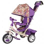 Детский трехколесный велосипед TRIKE Beauty Прованс, B2F, цветочек-сиреневый, ПВХ колеса 10/8