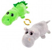 Детская мягкая игрушка Перевертыши - Вывернушки Teddy M5015, Бегемот - Динозавр, 16 см Abtoys