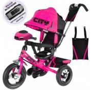 """Детский трёхколёсный велосипед Trike City Big 2018, розовый с надувными колёсами и USB фарой (12""""/10"""")"""