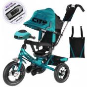 """Детский трёхколёсный велосипед Trike City Big 2018, бирюзовый с надувными колёсами и USB фарой (12""""/10"""")"""