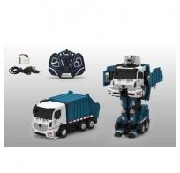 1toy робот на р/у, трансформируется в мусоровоз, со светом и звуком, 38см Т10601