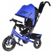 Детский трехколесный велосипед Trike CITY с ручкой, надувные колеса, от 1 года, синий