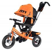 Детский трехколесный велосипед Trike CITY (2017) с ручкой, надувные колеса, от 1 года, оранжевый