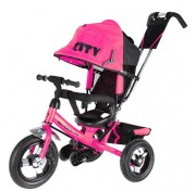 Детский трехколесный велосипед Trike CITY (2017) с ручкой, надувные колеса, от 1 года, розовый