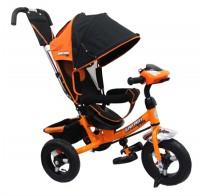 Детский трехколесный велосипед SAFARI Car, ручка, фара, надувные колеса 12/10, от 1 года, оранжевый