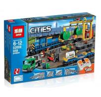 Игровой Электромеханический конструктор на пульте управления Lepin Cities 02008 Грузовой моторизированный поезд (Аналог City 60052)