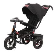 Детский трехколесный велосипед Super Formula с ручкой SFA3B, надувные колеса 12/10, с поворотным сиденьем, черный