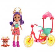 Кукла Enchantimals Велосипедисты с питомцем и транспортным средством GJX30