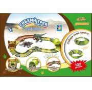 1Тoy Гибкий трек - динопарк мини-мост, тоннель, ворота, 1 машинка, 102 детали Т13206