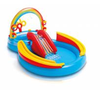 Надувной детский Игровой центр Водная Горка INTEX 57453 Радуга с распылителем