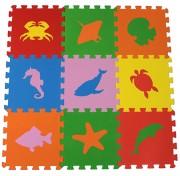 Коврик-пазл 33МП1/МЖ, Морские животные 1 кв.м - 9 деталей 33x33