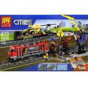 Электромеханический конструктор на пульте управления Lion King Cities 180028 Мощный грузовой поезд 1078 деталей