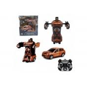 1toy Робот на р/у 2,4GHz, трансформирующийся в машину, 30 см, оранжевый Т10859