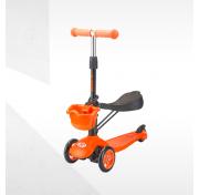 Самокат-беговел трехколесный с корзинкой Tech Team Sky Scooter new, оранжевый