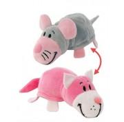 Мягкая игрушка Вывернушка 35 см 2в1 Розовый кот - Мышка  Т10928 1TOY