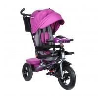 Детский трехколесный велосипед SAFARI Trike GT9480, поворотное сиденье, фара, надувные колеса 12/10, фиолетовый