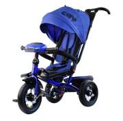 """Детский трёхколёсный велосипед Trike City Big 2019, синий с надувными колёсами и USB фарой (12""""/10"""")"""