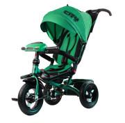 """Детский трёхколёсный велосипед Trike City Big 2019, зелёный с надувными колёсами и USB фарой (12""""/10"""")"""