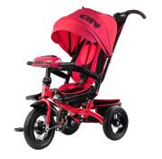 """Детский трёхколёсный велосипед Trike City Big 2019, красный с надувными колёсами и USB фарой (12""""/10"""")"""
