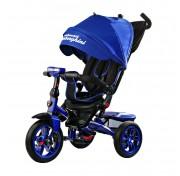 Детский трехколесный велосипед с ручкой Lamborghini L5 Panorama (поворотное наклонное сидение, LED фара) синий