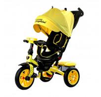 Детский трехколесный велосипед с ручкой Lamborghini L5 Panorama (поворотное наклонное сидение, LED фара) желтый