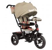 Велосипед трехколесный с фарой Smart Baby Expert 2018 (поворотное сиденье) бежевый