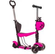 Самокат-беговел BLACK AQUA MG023D с ручкой со светящимися колёсами, розовый